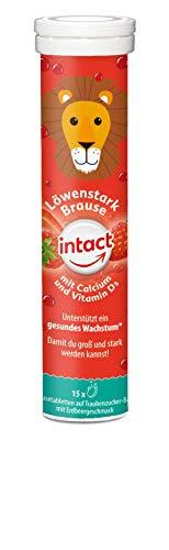 intact Löwenstark Brausetabletten - 15 Stk, Calcium und Vitamin D3 für Kinder, mit leckerem Erdbeergeschmack auf Traubenzuckerbasis, 75 g 330801