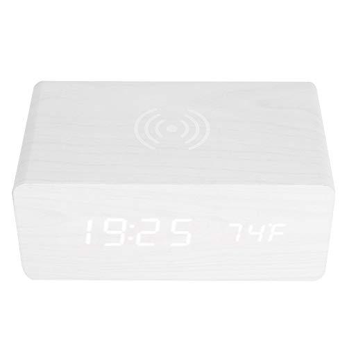 Mugast Digitale wekker, bluetooth-luidspreker, draadloos, geluidsbesturing, alarm, klok met bluetooth-luidsprekersysteem, draagbaar Qi draadloos opladen 12/24H led-spiegel, horloge, luidspreker wekker, Wit hout + wit licht