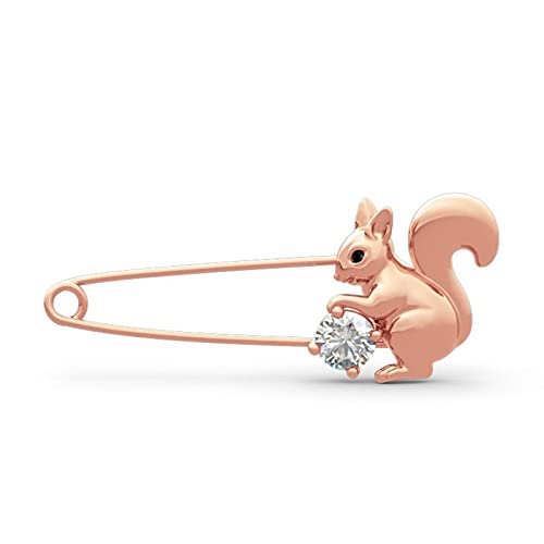 Jeulia S925 Sterling Silver Brooches Shape Cultured Pearl Round Cut Leaf Design 'Lovely Squirrel' for Women and Girls, Career Women Handmade Unique Diamond Jewellery Gold-Plated Rose Gold
