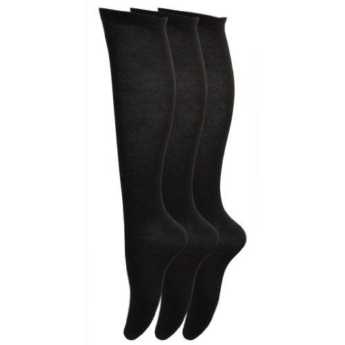 UK 4-8 6 Ladies Knee High LYCRA® Cotton Rich Longer Length Socks