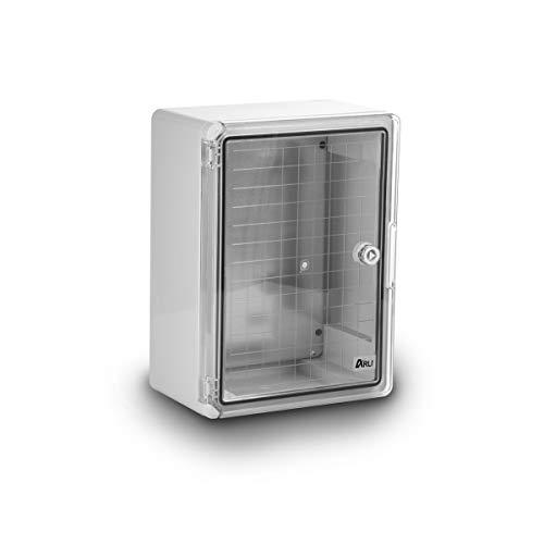 Schaltschrank IP65 Sichttür Industriegehäuse 250 x 350 x 150 mm verzinkter Montageplatte Verriegelung transparent Tür mit umlaufender Dichtung Gehäuse Leergehäuse ABS Kunststoff leer Schrank ARLI 25 x 35 x 15 cm