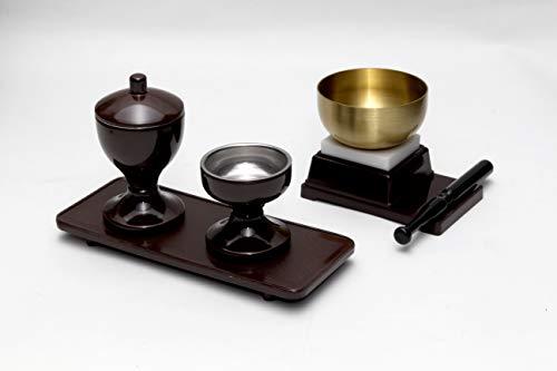 創価学会 水入れ ご飯入れ お盆 おりん 4点セット 茶 ミニ仏壇 コンパクト仏壇に最適