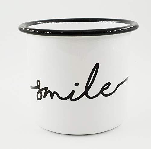 PICSonPAPER Emaille-Tasse mit Spruch Smile, Geschenk, Edelstahl-Becher, Metall-Tasse, Campingbecher, Kaffeetasse