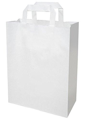 250 Papiertragetaschen Papier tüte groß in weiß 32+16x44 cm - good4food