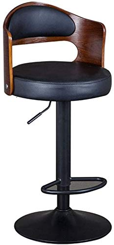 genneric Taburetes de Bar Taburetes Silla de Madera Maciza Respaldo 360 ° rotación Libre Can elevación Cuero de la PU Negro de Estar de Pintura Varillas de Cocina Cafés Ret Europea