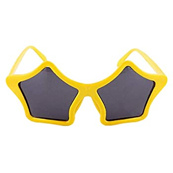 Five-pointed Star Shaped Eyeglass Party Sunglasses Fancy Dress Glasses Party Photo Props - Yellow