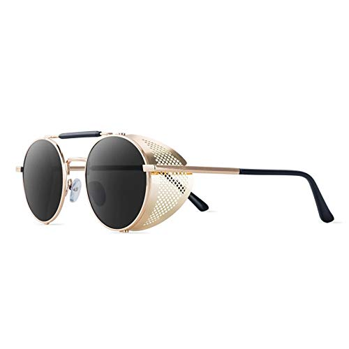 Gafas de Sol Sunglasses Gafas De Sol Redondas Retro De Metal Steampunk Hombres Mujeres Diseñador De Tendencia Gafas De Sol Vintage Sombras Protección UV C3Anti-UV
