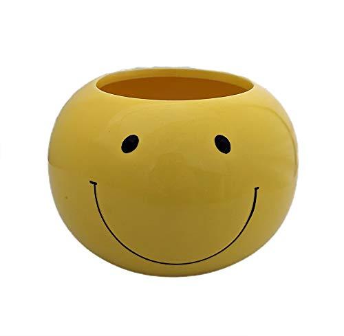 """Round Smile Face Ceramic Pot - 4"""" x 6"""""""