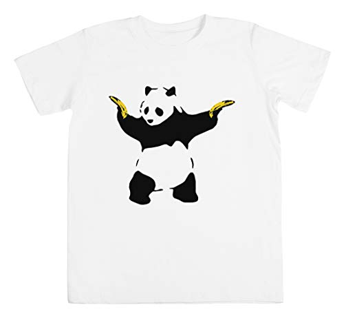 Schlecht Panda Schablone Unisex Kinder Jungen Mädchen T-Shirt Weiß Größe M Unisex Kids Boys Girls's T-Shirt White Size M