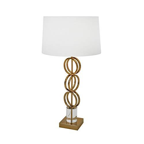 Benjara Lámpara de metal con anillo geométrico con pantalla de tambor cónica, blanco y dorado