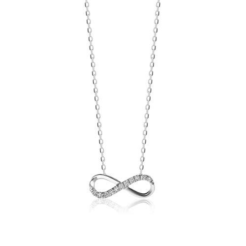 Orovi Cadena para mujer de oro blanco de 9 quilates/375 oro collar infinito colgante con diamantes brillantes de 0,06 ct