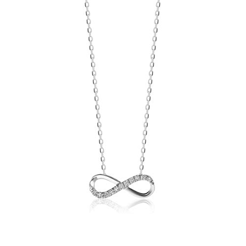 Orovi, collana da donna in oro bianco 9CT/375 con ciondolo a forma di simbolo dell'infinito e diamanti brillanti da 0,06carati