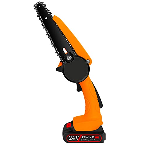 XRHM 7.9 Inch 24V Portable Electric Mini Chain Saw, Rechargeable Mini Wood Cutting Lithium Electric Saw Two Batteries
