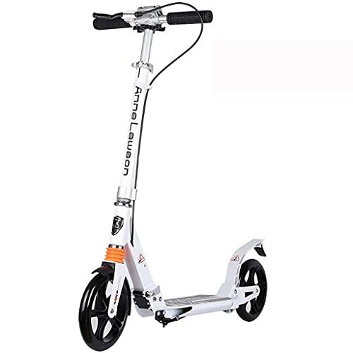 ZHZHUANG Portátil Vespa Scooter Freestyle Adulto Adolescente Niños Ajustable Altura Easy Plegable Portátil Portátil, Ropa Rápida Scooter de Aluminio No-Eléctrico Classic Scooter,Blanco