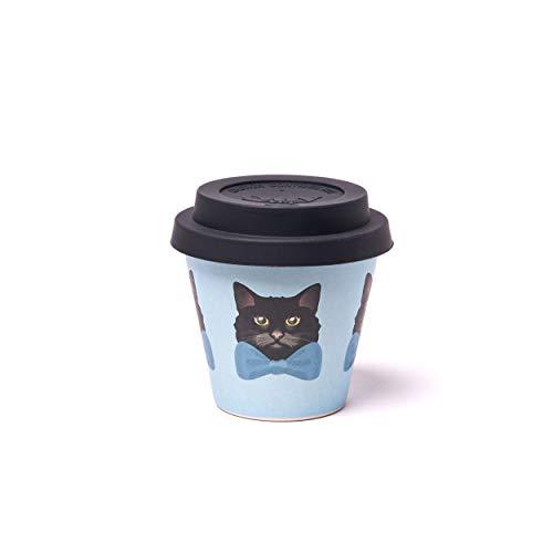 QUY CUP Tazza Espresso in bambù. 90ml. Pippo. Design Italiano Esclusivo. Realizzate con Fibre Naturali. Sostenibile. Senza BPA. Tazza Portatili e riutilizzabili. Bio-Based Material. Coperchio incl.