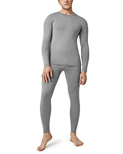 LAPASA Men's Thermal Long Johns Underwear Set Lightweight, Warm Fleece Lined Top & Bottom Thermoflux M11, Light Heather Grey-UK OUT2 L