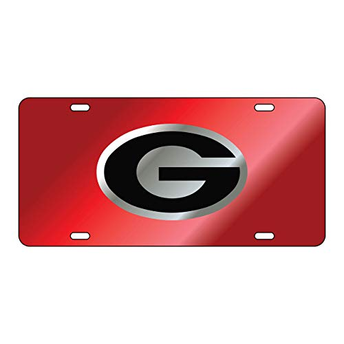 Sports Addiction Georgia Bulldogs Mirror Laser License Plate Tag Mirror Red background, Silver, Black - G logo
