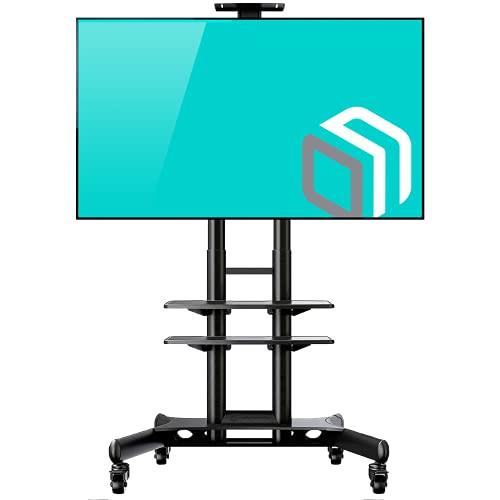 """ONKRON TV Ständer Standfuss 32\""""-65\"""" Zoll kompatibel für die meisten TVs VESA 100x100-600x400 mm höhenverstell-rollbar TS1552 Schwarz"""