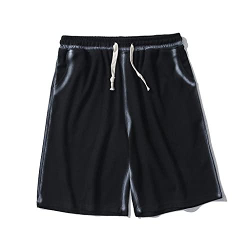 DYXYH Verano impresión de Colores sólidos Pantalones Cortos Casuales para Hombres Parejas de Moda Banda elástica Transpirable Suelta Correr Ropa Deportiva (Color : A, Size : L Code)