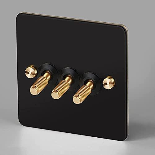 KDLAKE Interruptor retro negro moleteado tipo 86 Interruptor de palanca Enchufes de mejora del hogar Interruptor de luz Interruptores de palanca,3 pandillas