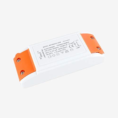 Yafido Transformador electrónico 230V(AC) a 12V(AC) 10-60W,protección de sobrecarga para transformadores halógenos, regulable para lámparas halógenas