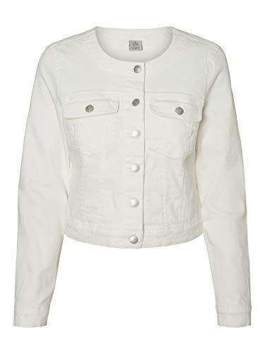 VERO MODA Damen Jeansjacke Cropped SSnow White