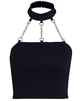 Women s Gothic Sexy Tube Crop Tops Black Halter Gothic Punk Cosplay Skinny Slim Tank Tops Iron Chain Hollow Out Solid Backless Top