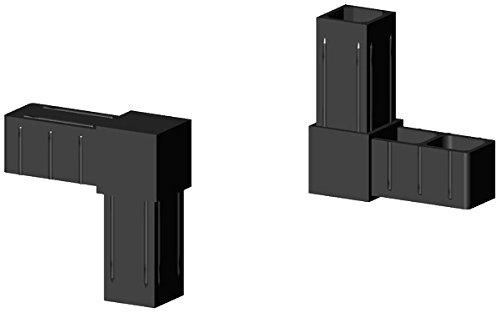 Winkelverbinder Kunststoff schwarz, Glasfaserverstärkt - für 20x20x1,5mm Aluminiumprofil Steckverbinder für Aluminiumprofile