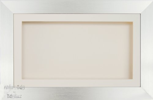 Anika-Baby écran 17,8 x 33 cm/33 x 17,8 cm Boîte en bois Cadre en effet argenté avec carte Passe-partout crème et carte de dos, façade en verre 36,8 x 21,6 cm