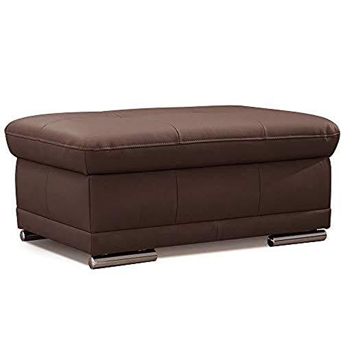 CAVADORE Sitzhocker Aniamo / Gepolsterster Hocker aus Leder, ideal als Fußbank / 100 x 43 x 67 / Echtleder, Dunkelbraun