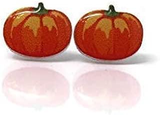 Pumpkin Stud Earrings, Metal Free Plastic Post, 12mm
