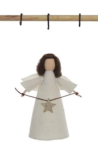 Creative Co-op Wool Felt Angel Tree Topper Ornament, White