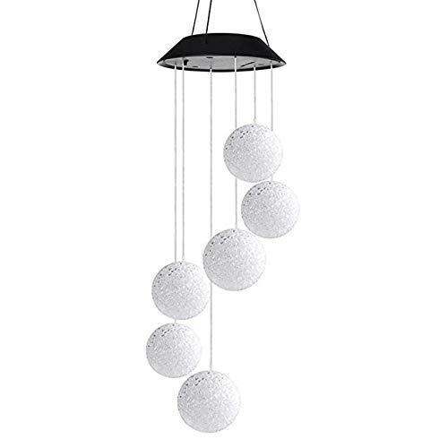 FEE-ZC Garden Deco Nrpfell Campanelli solari a LED Campanelli eolici Sfera di Cristallo Cambiamento di Colore Lampada Rotante Outdoor Mobile Hanging P
