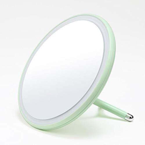 Miroir Maquillage, Bureau se pliant simple de miroir de maquillage mené vitesse de gradation du miroir trois de maquillage (Couleur : Green)