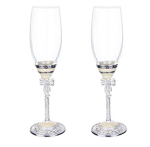 DNGDD Hochzeit Weingläser, Liebe Kristall Champagner Flöten Kreative Toast Champagner Weingläser White Pearl Emaille