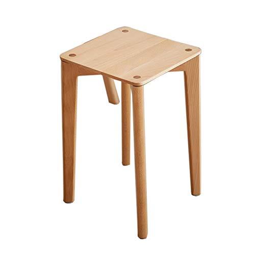 JCNFA BIJZETTAFEL Planken Dressing Kruk, Living Room Plein Kruk, Eettafel En Kruk, Beech Houten Bank, Houten Meubelen (Color : Wood, Size : 11.81 * 11.81 * 18.30in)