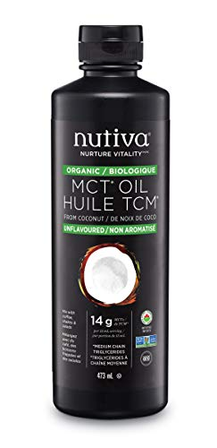 Nutiva Organic MCT Oil, Unflavored, 473 mL   Organic, Non-GMO, Non-BPA   Vegan, Gluten-Free, Keto & Paleo   14g MCT per…