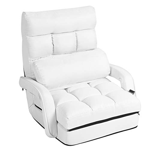 CASART. 2-In-1 Folding Sofa Bed with Pillow for Single Sleep, 5 Positions Adjustable Armchair Floor Sofa, Living Room Bedroom Office Furniture (White)