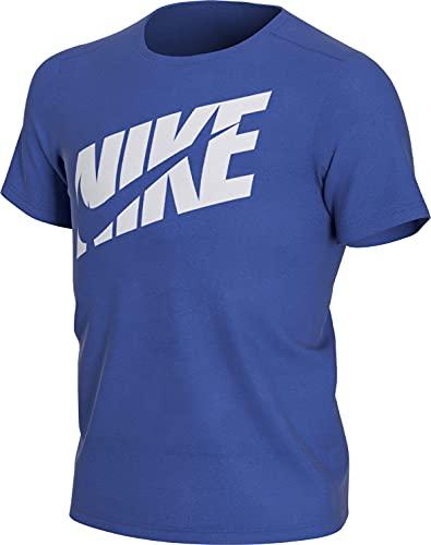 Nike Damen T-Shirt, Royalblau-Weiss-grau, L