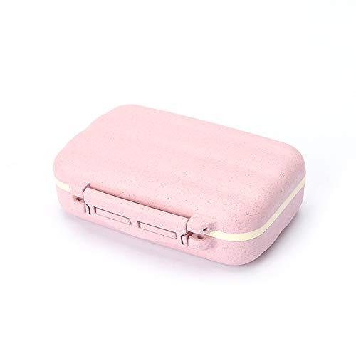 Demarkt Pillendoos voor 7 dagen voor reizen, capsule pillen, doos met 8 vakken 11cm*8cm*3.5cm roze