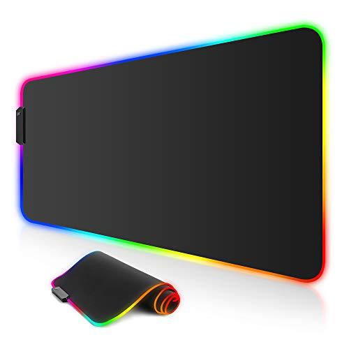 ARCHEER Tappetino Mouse Gaming, RGB Gaming Tappetino 800x300 mm Tappetino Mouse Gaming XXL con 12 RGB Effetti Luce Superficie Impermeabile Liscio e Base Gomma Antiscivolo per PC e Laptop