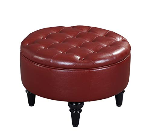 Kings Brand Furniture – Red Faux Leather Round Storage Ottoman with Tray Top