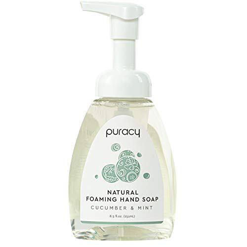 Puracy Natural Foaming Hand Soap, Cucumber & Mint, Hypoallergenic Hand Wash, 8.5 Ounce
