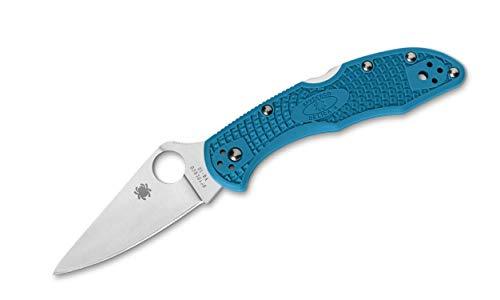 Spyderco Unisex– Erwachsene Taschenmesser Delica Flat Ground Blau, 17.5