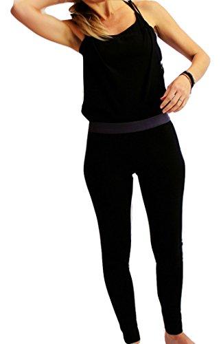 Prancing Leopard Damen Yoga Overall Lyon Hosenanzug Elegante Einteiler Lang Schwarz Legging mit Rock in Biobaumwolle - L - Charcoal Black