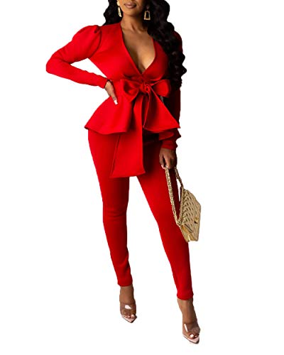 Two Piece Sets for Women Sexy- Long Sleeve V Neck Peplum Ruffle Raw Hem Pullover Tops Bodycon Long Pants Outfits Tracksuit Red L