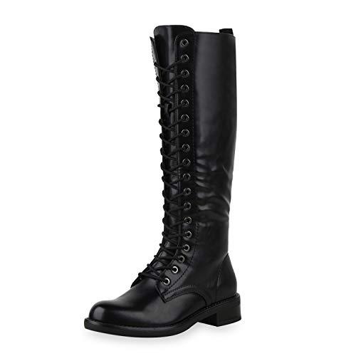 SCARPE VITA Damen Stiefel Herbst Schnürschuhe Blockabsatz Schnürstiefel Schnürer Langschaftstiefel Absatzschuhe Basic Schuhe 197363 Schwarz 37