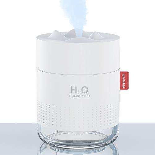 Luftbefeuchter 500ml Mini USB Air Humidifier Ultraschall Luftbefeuchter Schlafzimmer Ultra Leise Luftbefeuchter Klein, Automatische Abschaltung, Bis 12-18h Stunden Dauerbetrieb für Baby Haus Büro