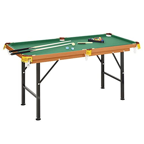 HOMCOM 55'' Portable Folding Billiards Table Game Pool Table for Kids Adults with Cues, Ball, Rack,...