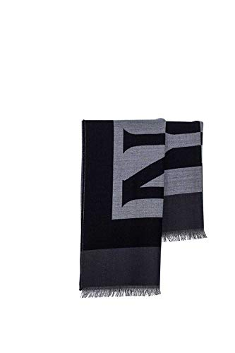 NAPIJRI herensjaal van wol met Maxi logo in grijs en zwart